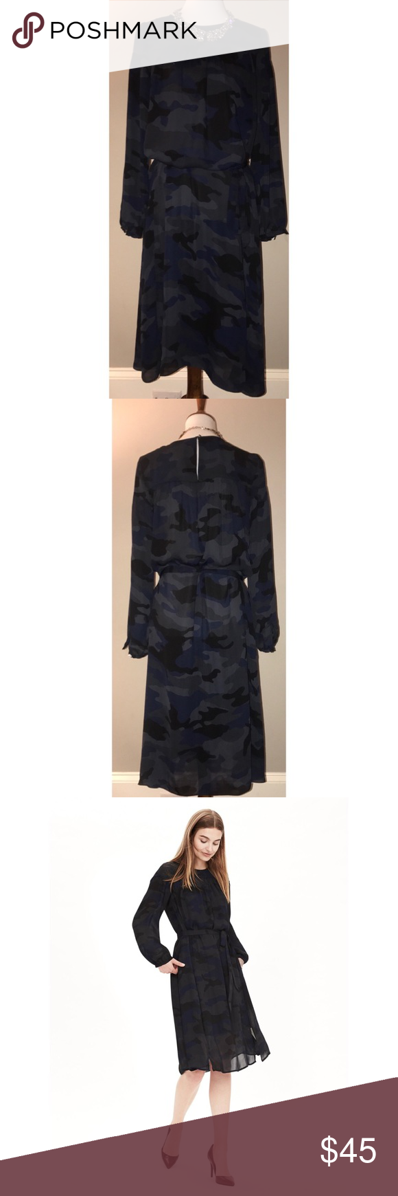 Banana Republic $45 NWT Blue Camo Print Dress A camo print adds the right amount of edge to our shirred shirtdress. High neckline. Long sleeves with silver spike buttoned cuffs. Shirred yoke. Buttoned keyhole at back (also has the cute spike button detailing). Ties at the waist. Sheer poly. Requires a slip underneath (not included).  Retails $138. Banana Republic Dresses