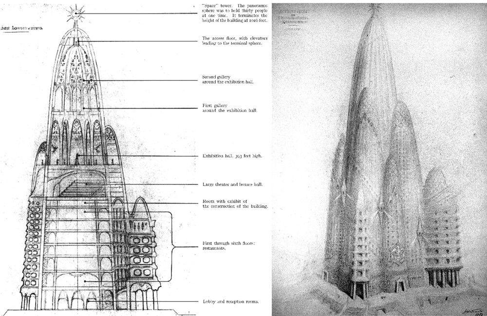 The design for Antonio Gaudi's unrealised Hotel Attraction in Manhattan