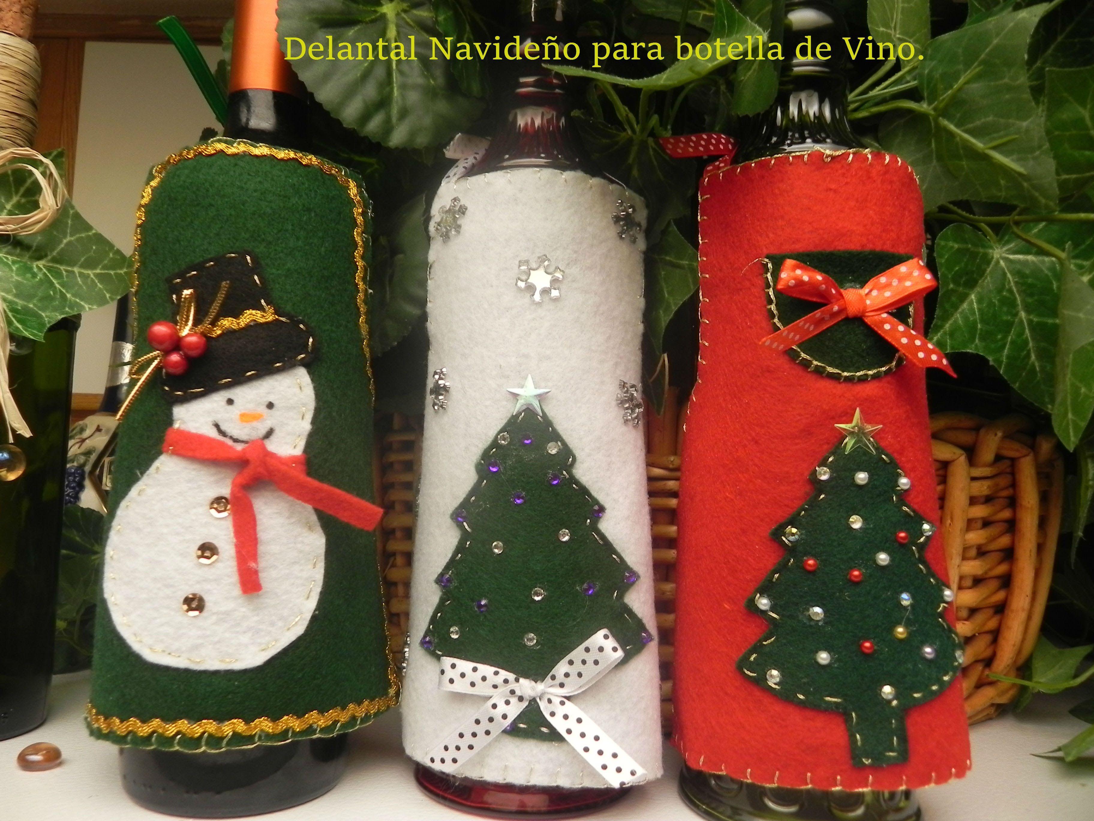 Delantal navide o para botella de vino video - Como hacer motivos navidenos ...