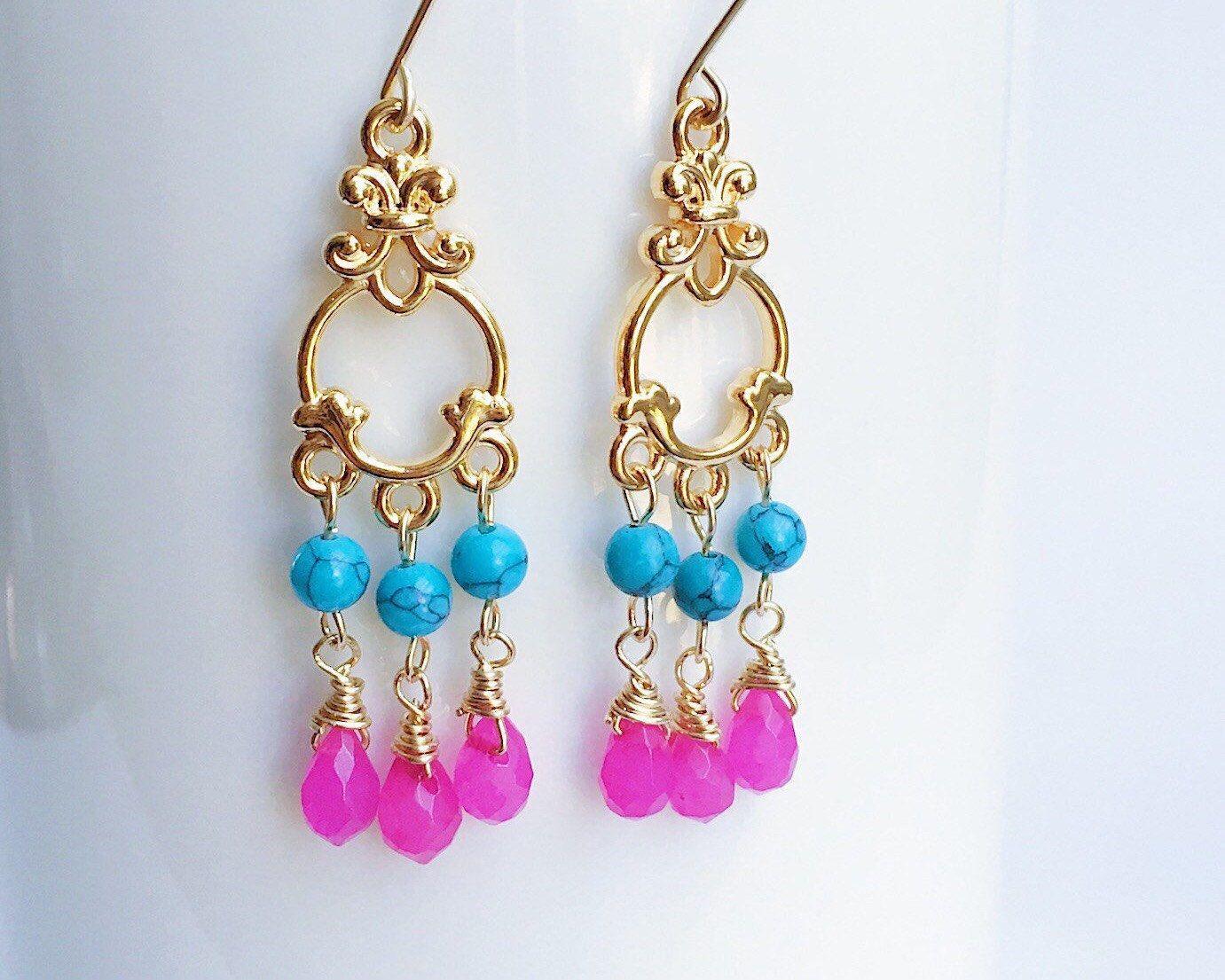 Teardrop Chandelier Earrings, Wire Wrapped Teardrop Earrings, Hot ...