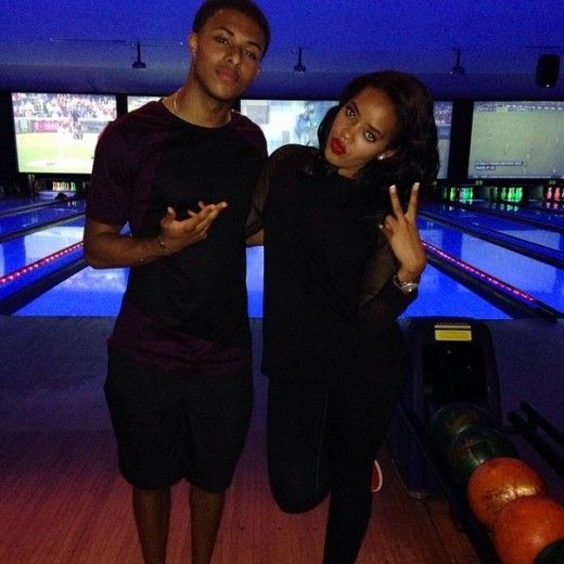 Angela Simmons and her younger bro Diggy matched with their all black everything, while getting in a round of bowling.