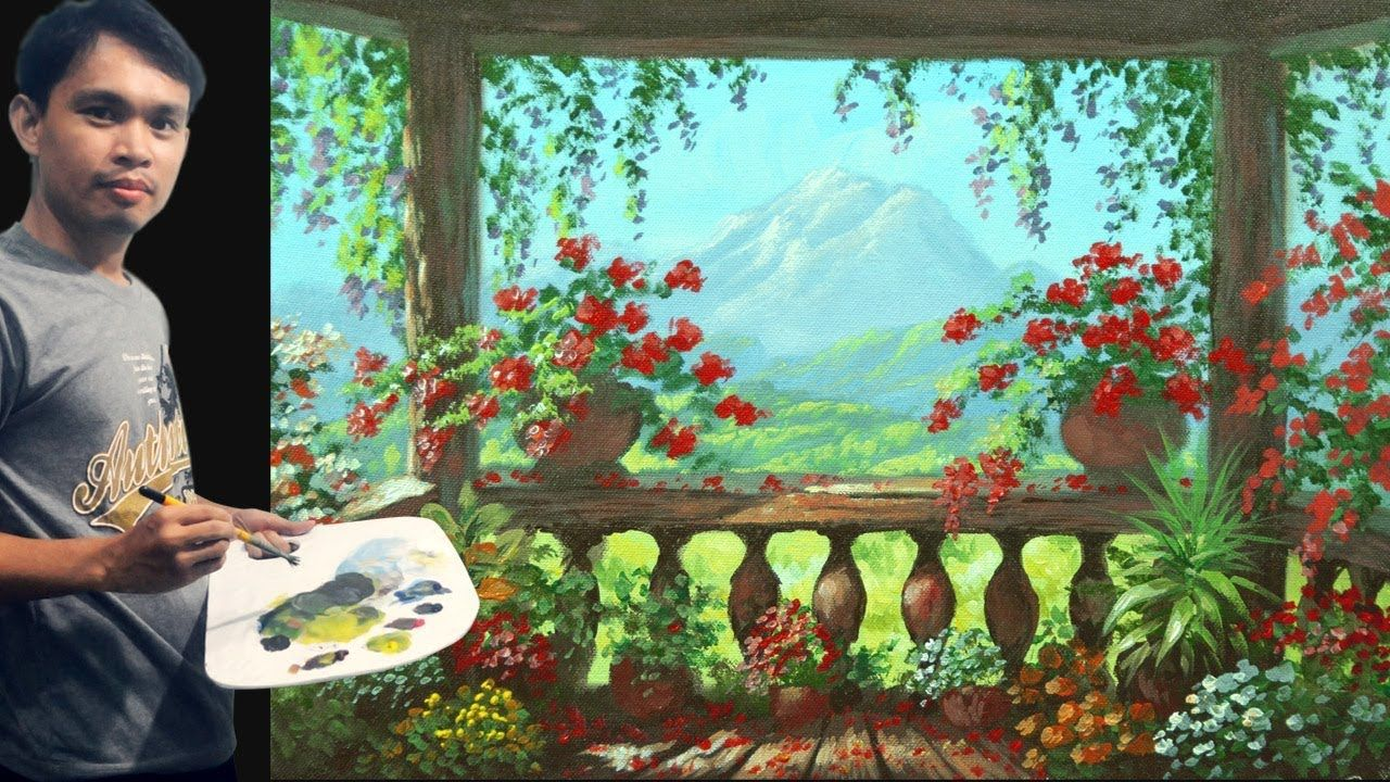 Acrylic Painting Tutorial View From Balcony With Flowers By