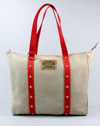 AUTH LOUIS VUITTON Khaki Red Antigua Cabas GM Tote Handbag BID NOW @ www.ShopLindasStuff.com