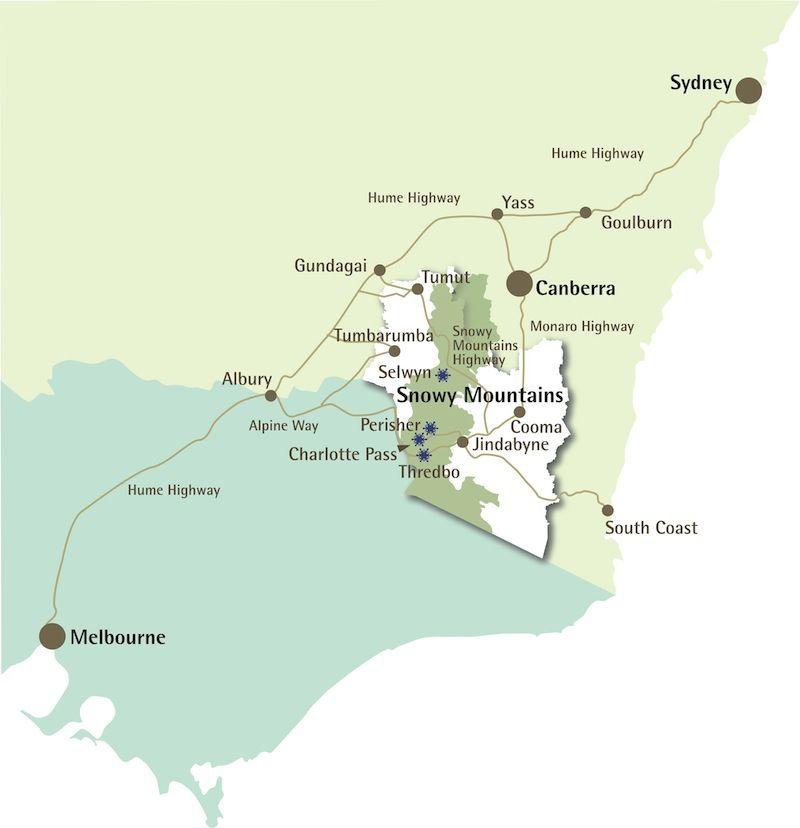 Snowy Mountains Driving Routes Snowy Mountains Australia Map Snowy