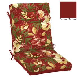 Garden Treasures X Stencil Red Tropical Chair Cushion