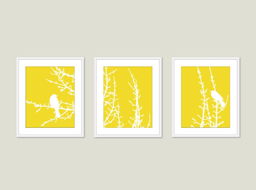 Modern Birds on Branches Art Prints - Birds Wall Art - Yellow Art ...