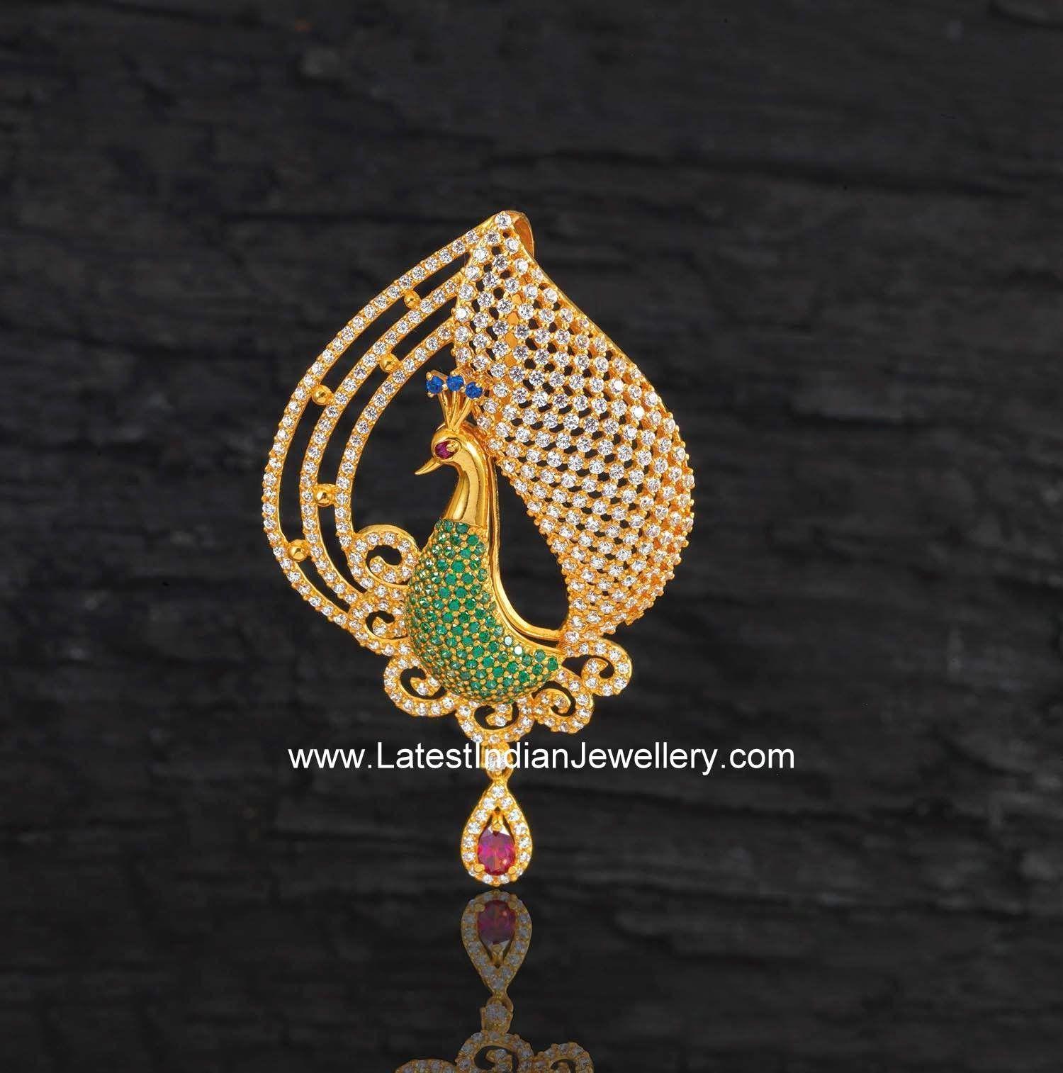 Buy Kundan Choker Necklace Priya Nacc10438c: Gemstone Colorful Peacock Pendant
