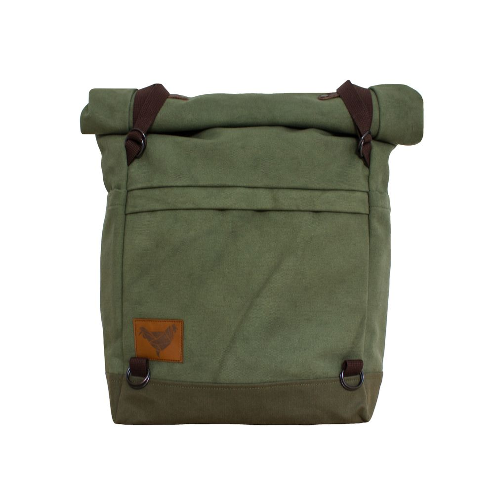 Made in HungaryColor: Pistacia green/Olive green bottomProduct Type: Roll-top backpackWeight: 1000 gCarries: Max. 8-10 KG Dimensions: 29.5 x 60(40) x 14.5 cm (width on to/height (rolled)/depth) Size: 20 liters (rolled) Material: Water repellent Cotton Canvas, Bottom:Waxed Cotton CanvasLining: PE Polyester, OrangeAdditional Information: Front pocket (29.5x20 cm) with zipper enclosure. 2 Side pockets (22x14.5 cm).Padded shoulder straps. ��...