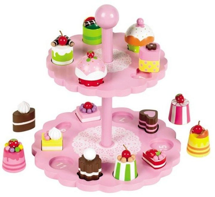 Pink Wooden Cake Stand Shape Sorter Wooden Toy 2795 Pretend