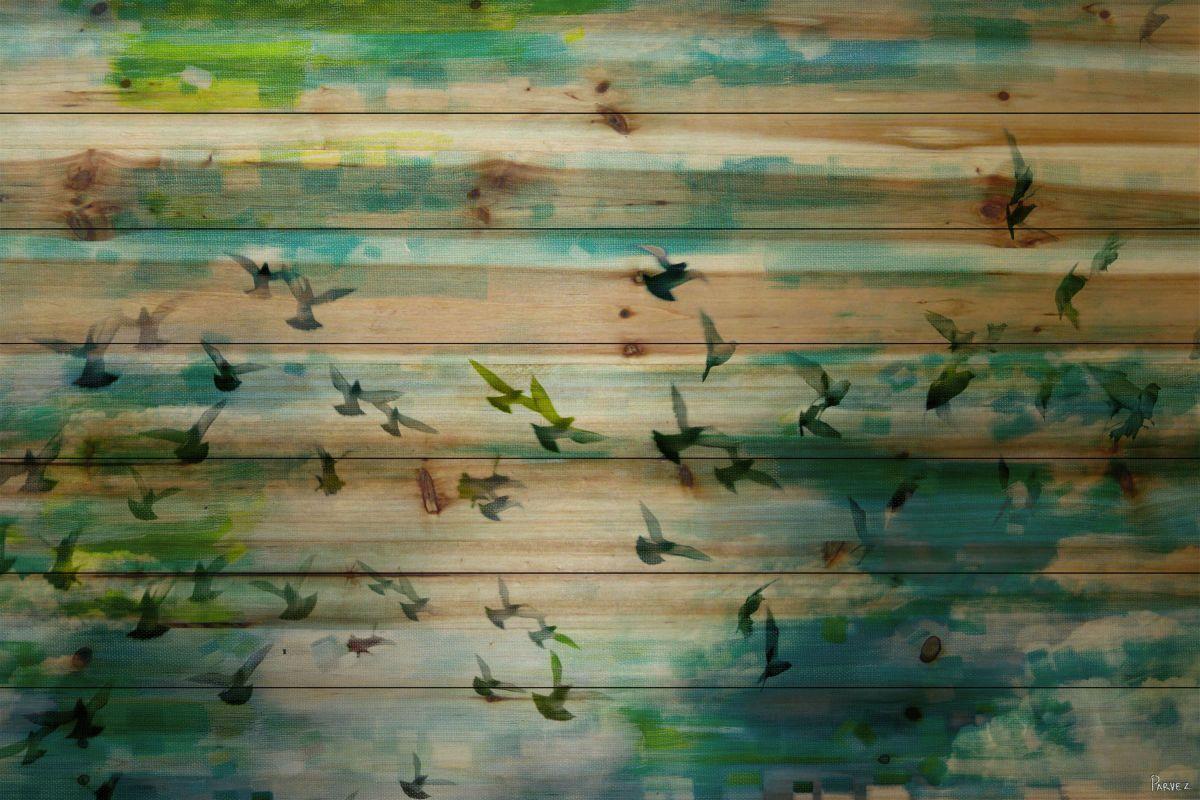 Parvez taj acadia street on pine wood art print on natural pine