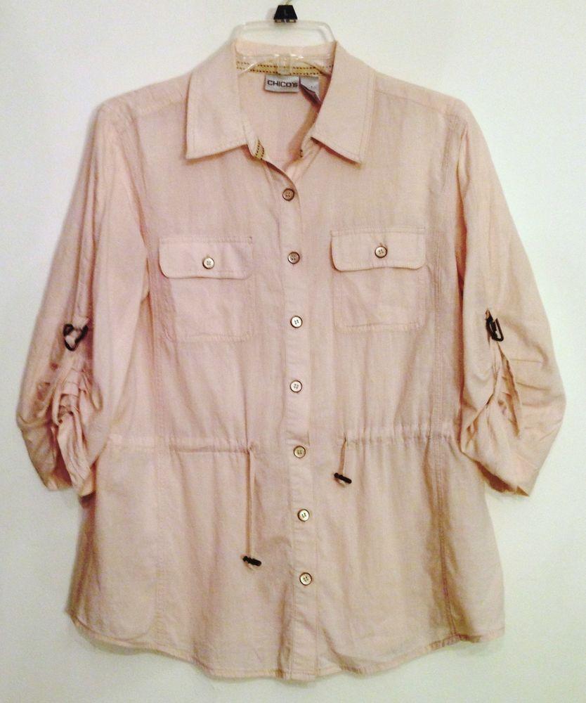a9ed7c0f9d Chicos Size 1 Beige Safari Shirt Top Blouse Camp Sleeve Drawstring Waist  Pockets #Chicos #ButtonDownShirt #Casual #Chicos #CampShirt #Cotton