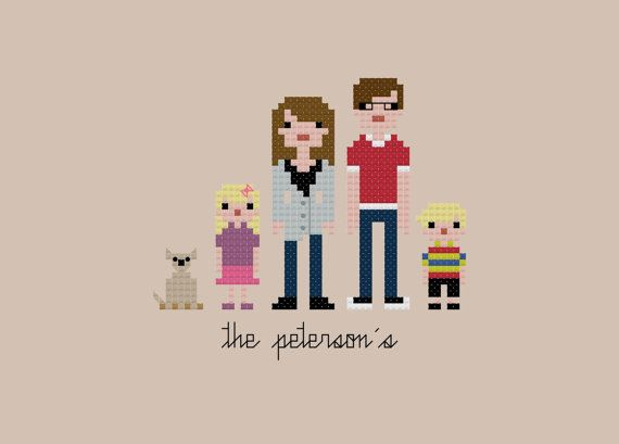 Custom PATTERN Pixel People Portrait The door weelittlestitches