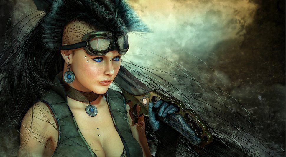 Women Warrior Artwork Sword Rain Cyberpunk Cyberpunk: Art, Fille, Pistolet, Couteau, épée, Cyberpunk, Lame