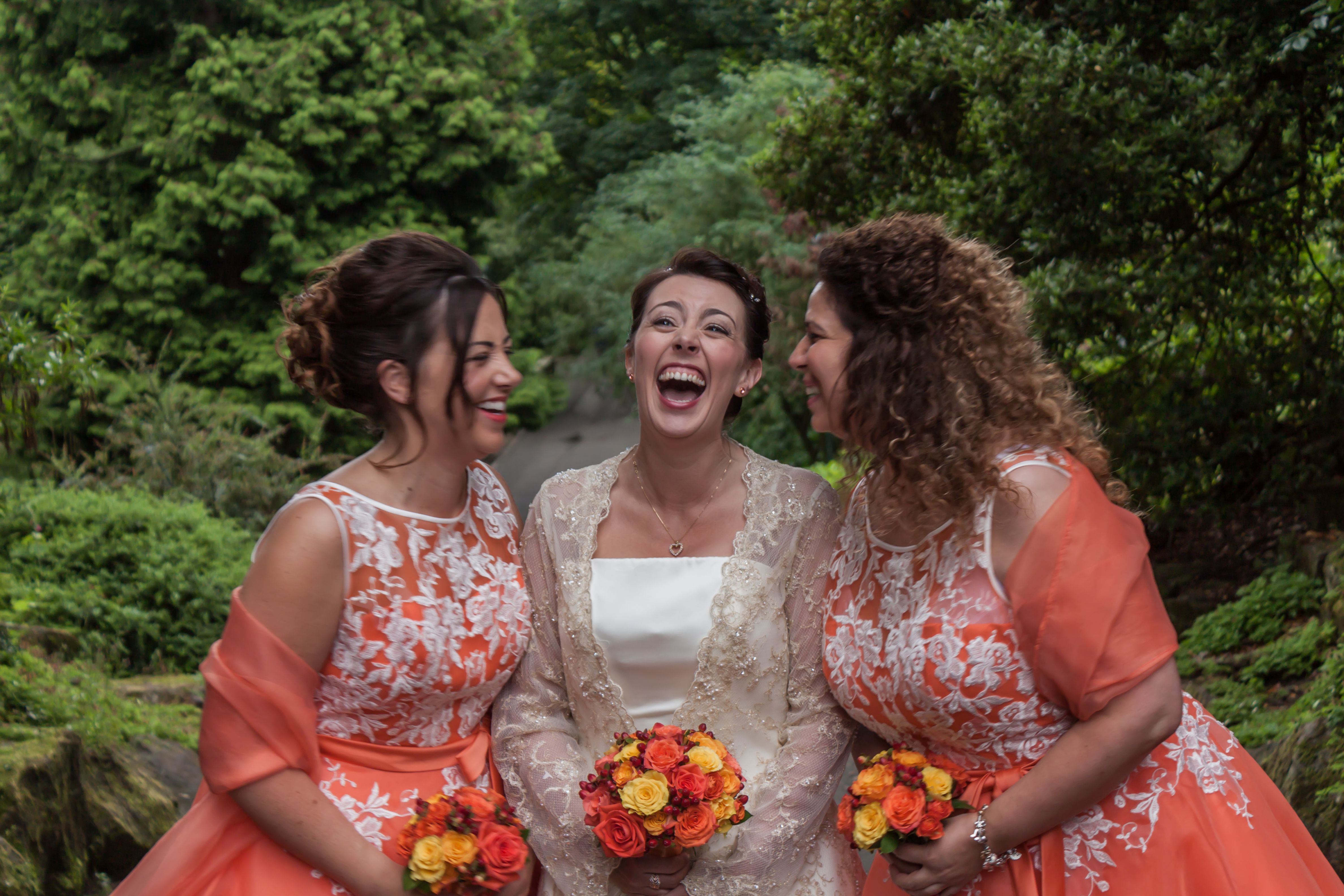 laughter with the bridesmaids