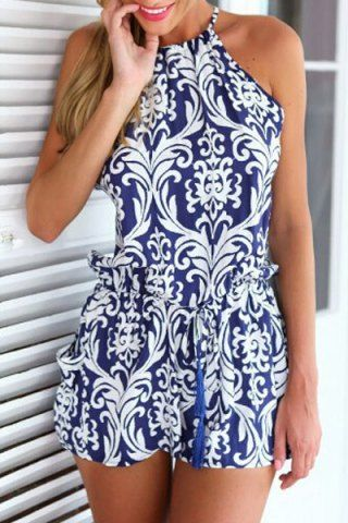 Stylish Round Neck Sleeveless Backless Printed Women's Romper