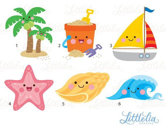 57cc74101 Beach kawaii clipart - summer beach cute clipart - 17022
