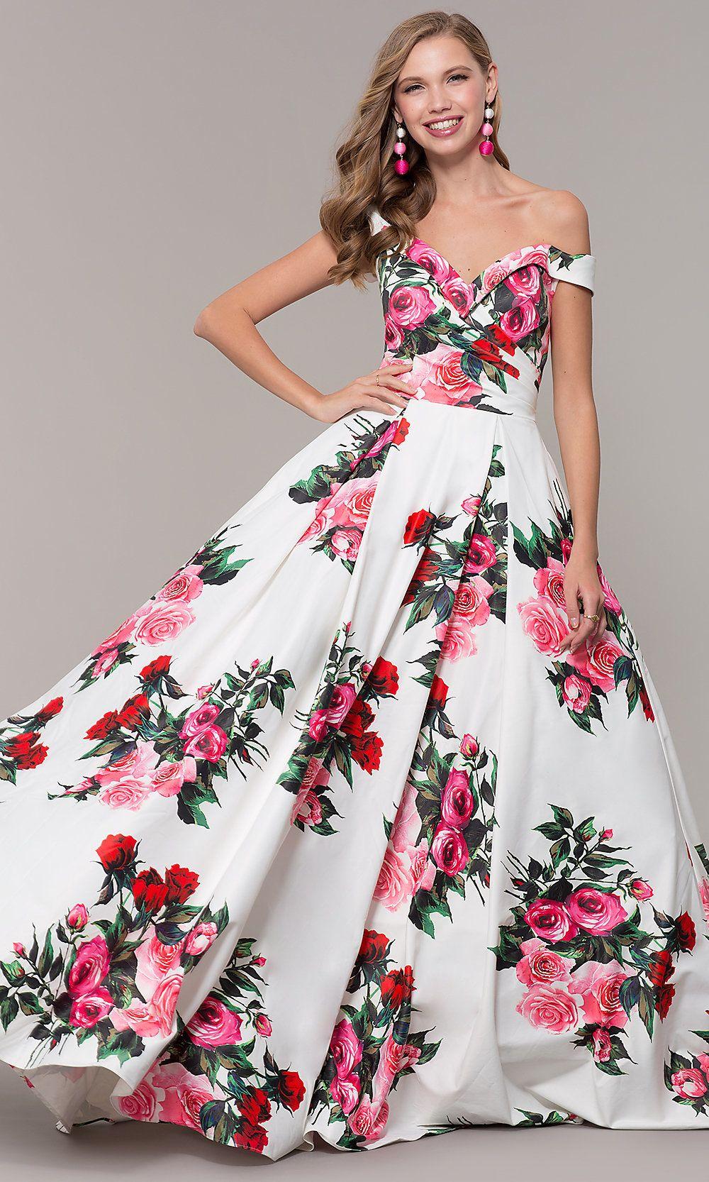 a49037429d2 Floral-Print Off-Shoulder JVN by Jovani Prom Dress in 2019