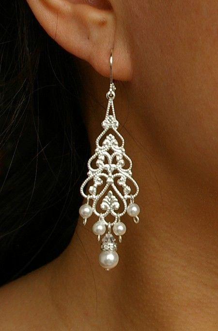 Pearl Chandelier Bridal Earrings Silver Filigree Dangly Wedding Vintage Style Jewelry Colette 36 00 Via Etsy