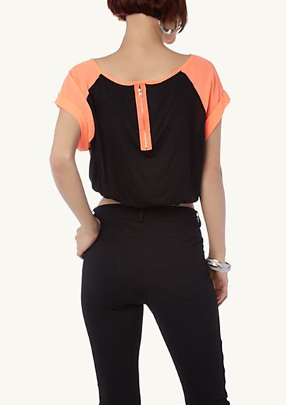 image of Color Block Raglan Boxy Top