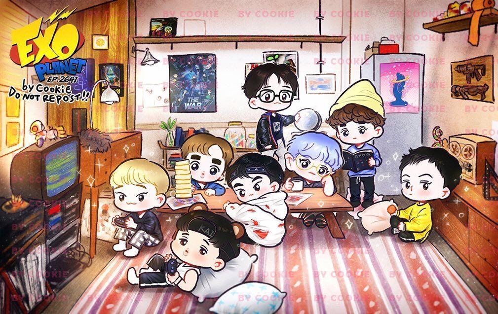 Exo Power Exo Fan Art Exo Chibi Fanart Exo Anime Wallpaper laptop exo kartun hd