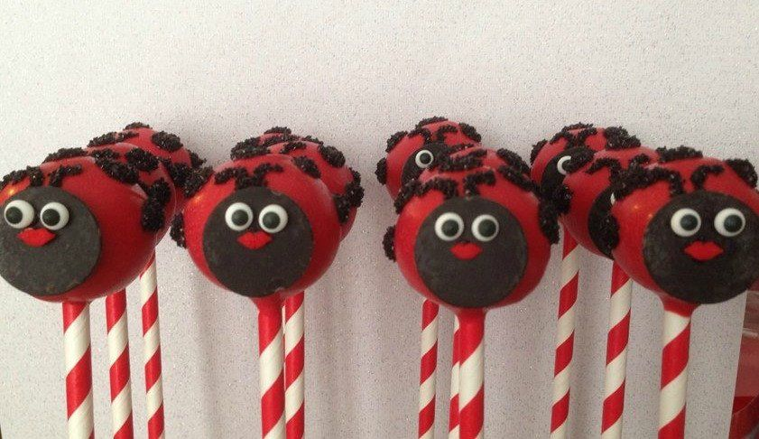 12 Ladybug Birthday Party Cake Pops Baby Bridal Shower Sweets Table Candy Buffet Party Favors Lady bug cake pop