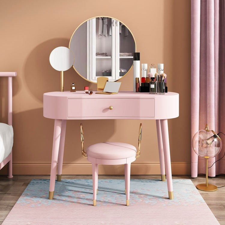 Elegant Makeup Vanity Table Set With Drawer Stool 2 Mirrors Included Blue White Pink Green In 2020 Vanity Table Set Vanity Table Makeup Table Vanity