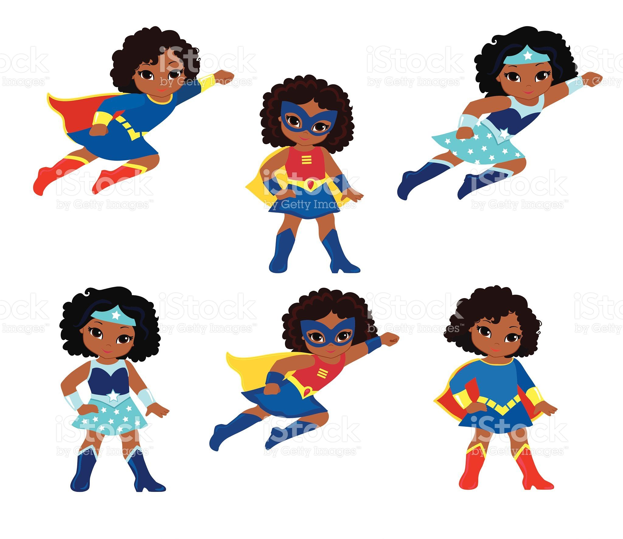 hight resolution of african american cute superhero girl vector clip art set royalty free stock vector art
