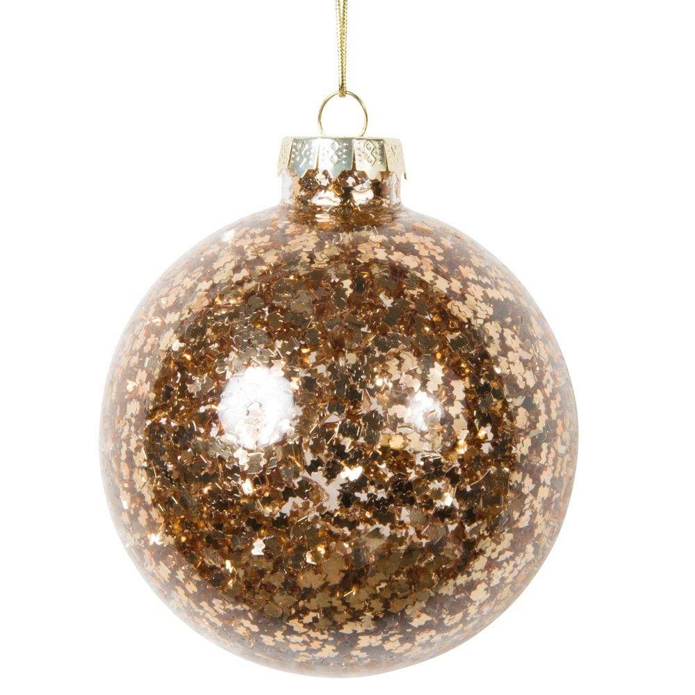 Boule de Noël pailletée dorée en verre 8 cm GLOSS | Maisons du