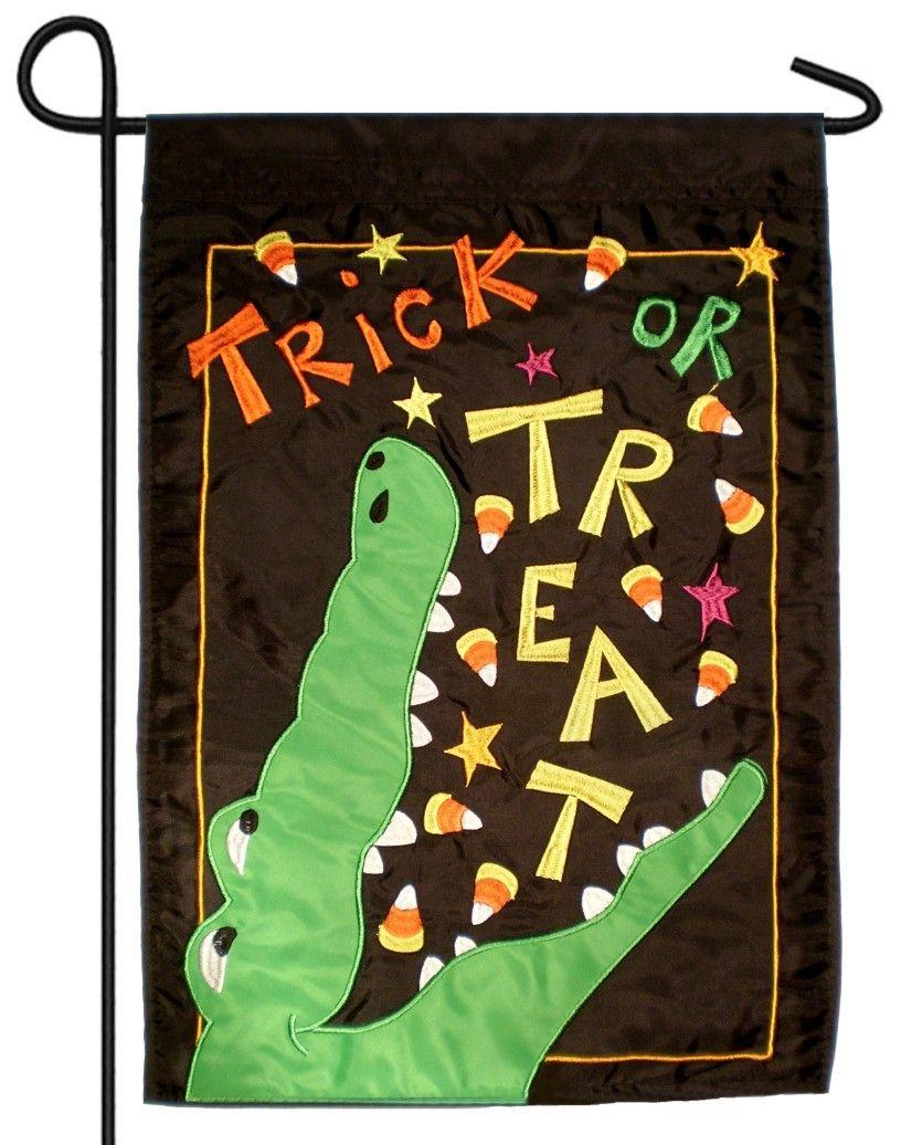 Alligator Trick or Treat Double Applique Garden Flag | Cute stuff I ...