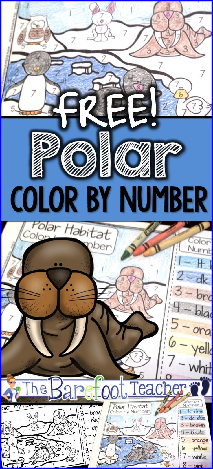 Polar Color By Number Freebie Polar Animals Arctic Habitat
