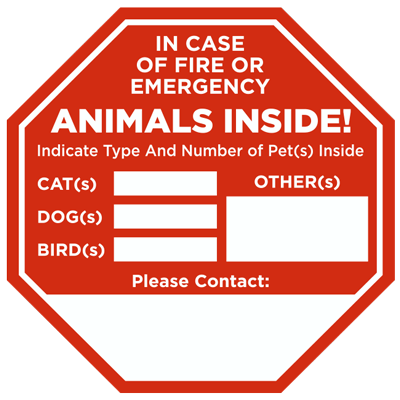 In case of fire animals inside sticker f8120