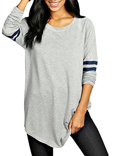3cde942e9fb97 Womens Plus Size Athletic Striped Baseball TShirt Loose Long Blouse Top XL  Gray -- See this great product.Note It is affiliate link to Amazon.