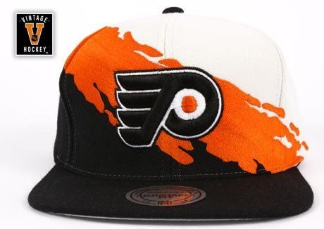 020ed6f4a1a Philadelphia Flyers Mitchell  amp  Ness Cream Vintage  Paintbrush  Snapback  Hat by Mitchell  amp