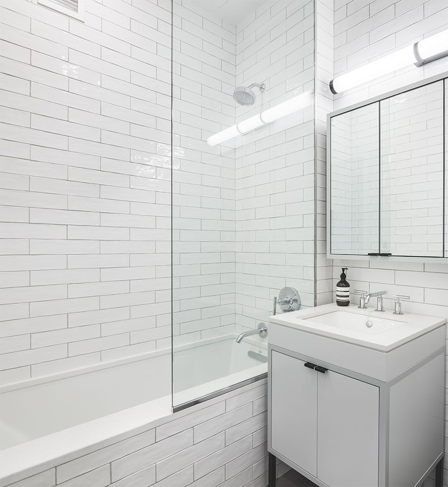 4x16 long white tiled bathroom white on white bathroom - White ceramic wall tiles bathroom ...