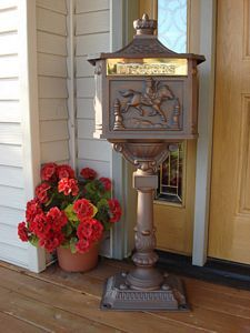 This mailbox is made of cast aluminum so it won't rust. Available in 4 colours. Lockable. Awesome!    http://www.avantgardenshop.com/index.php?main_page=product_info&cPath=1_30_36&products_id=178