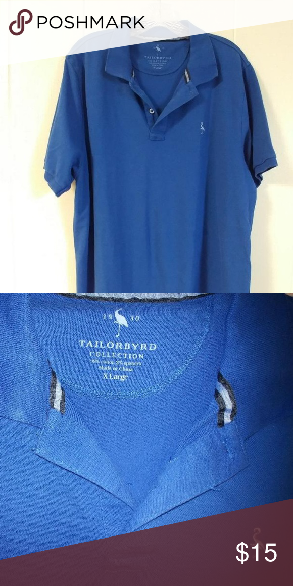 6b6d9b980 Tailorbyrd Polo 98% cotton, 2% spandex. Nice blue color. Good condition.  Soft. Tailorbyrd Shirts Polos