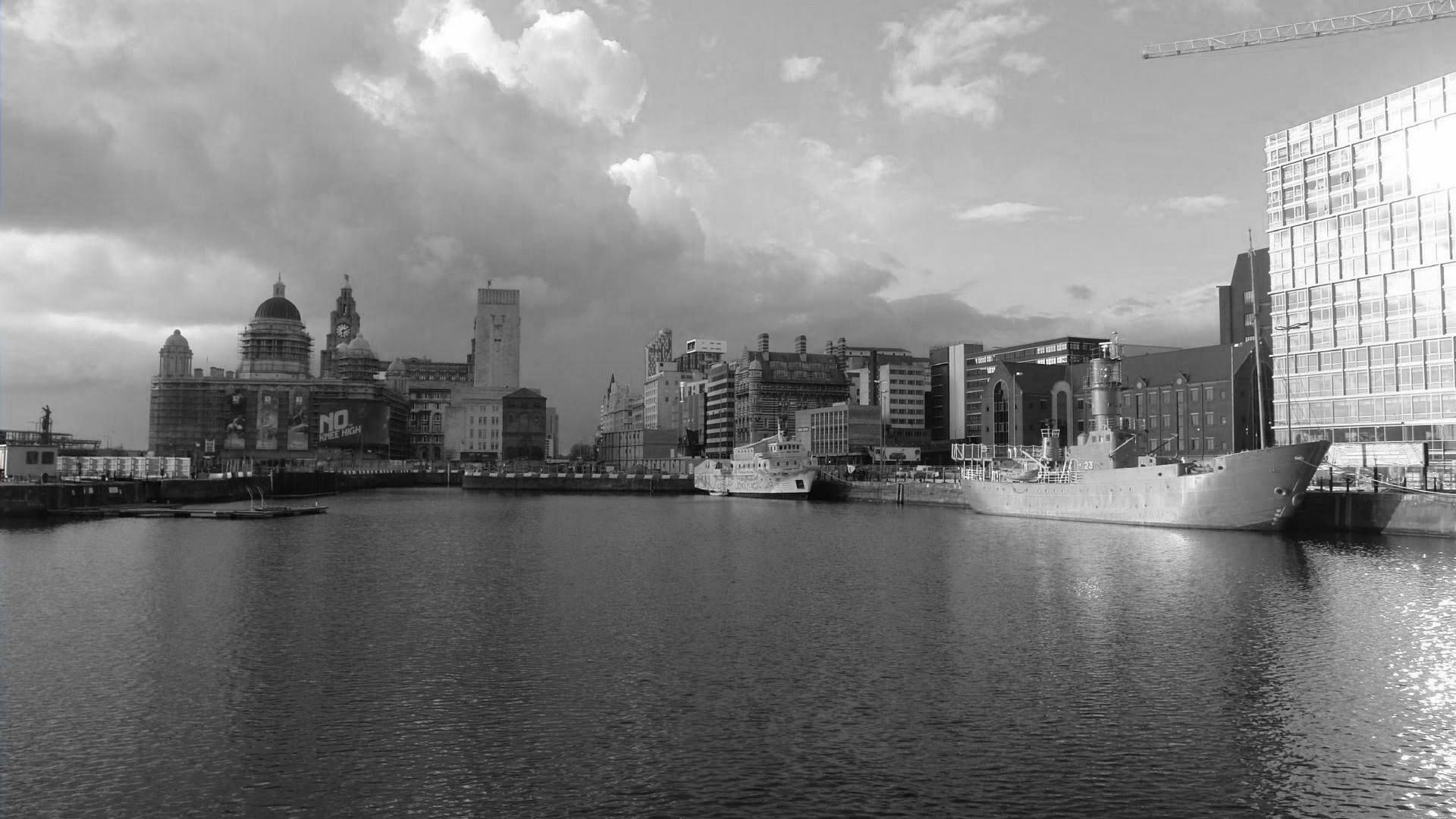 Liverpool docks black and white.