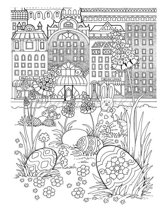 Nice Little Town Easter Adult Coloring Book Pages For Relaxation Stress Relieving