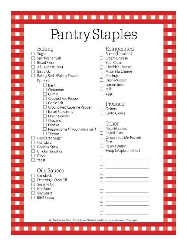 Pantry Staples Checklist Cleaning Pinterest Pantry Menu And
