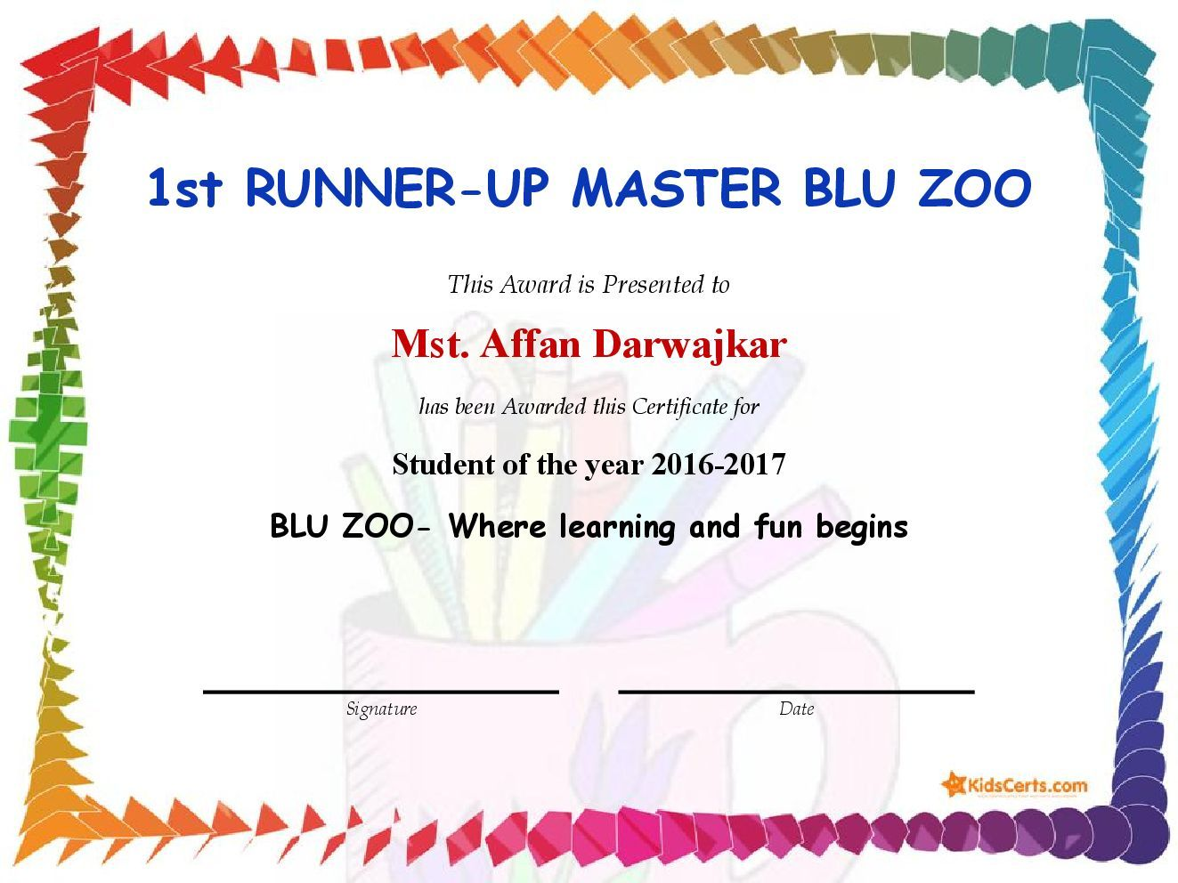 1st RUNNER-UP MASTER BLU ZOO - Student of the year 2016-2017 | Award ...