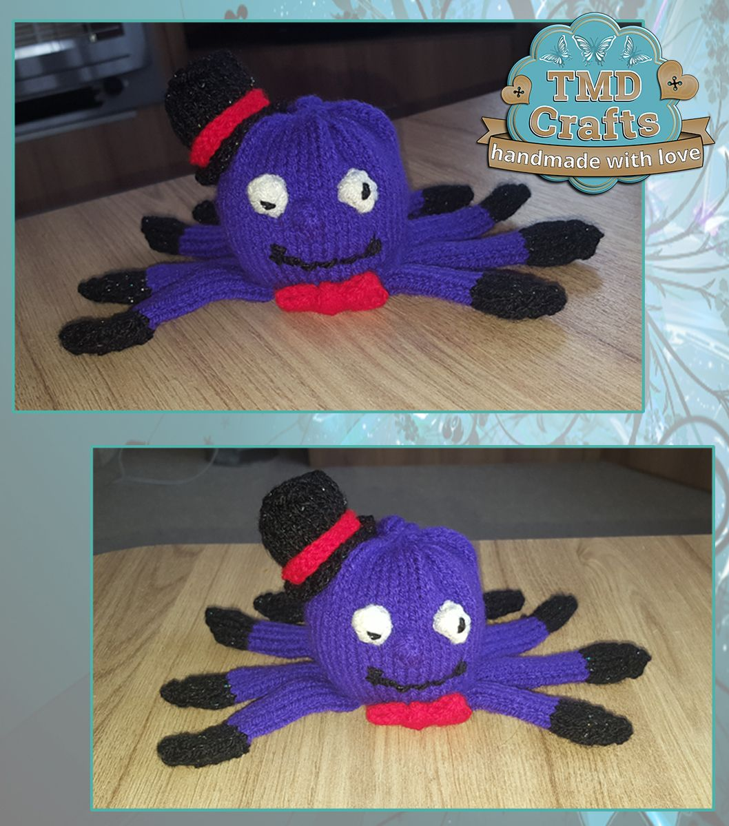 Hand knitted spooky snazzy spider for a hidden treat of a chocolate ...