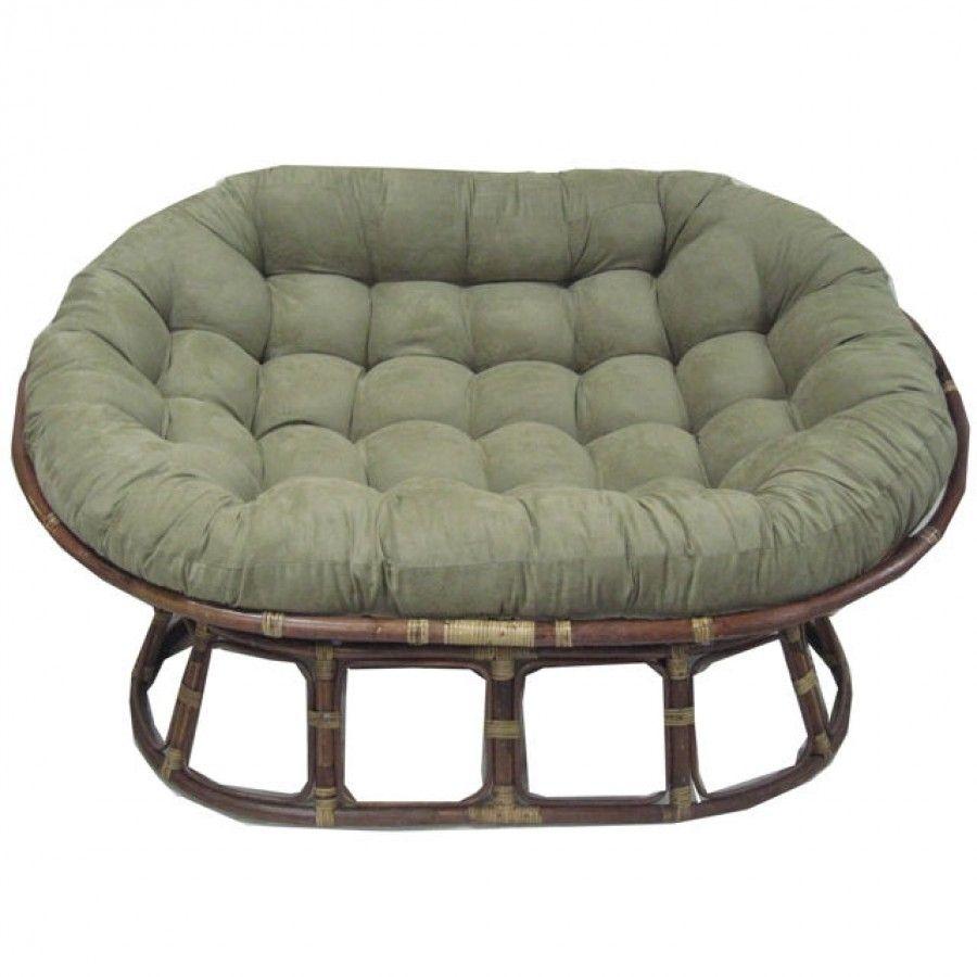 International Caravan Rattan Double Papasan Chair with Micro Suede ...