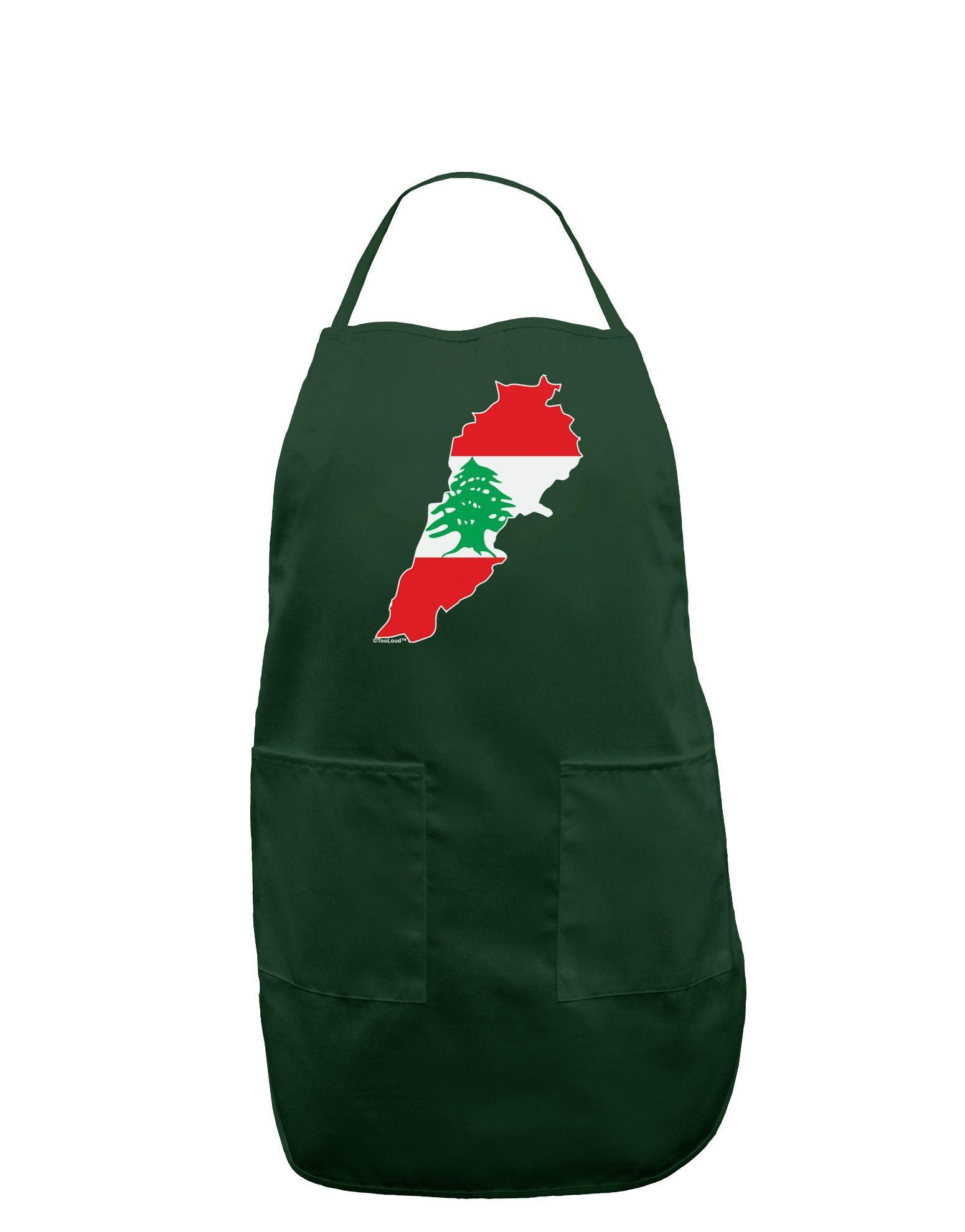 TooLoud Lebanon Flag Silhouette Dark Adult Apron