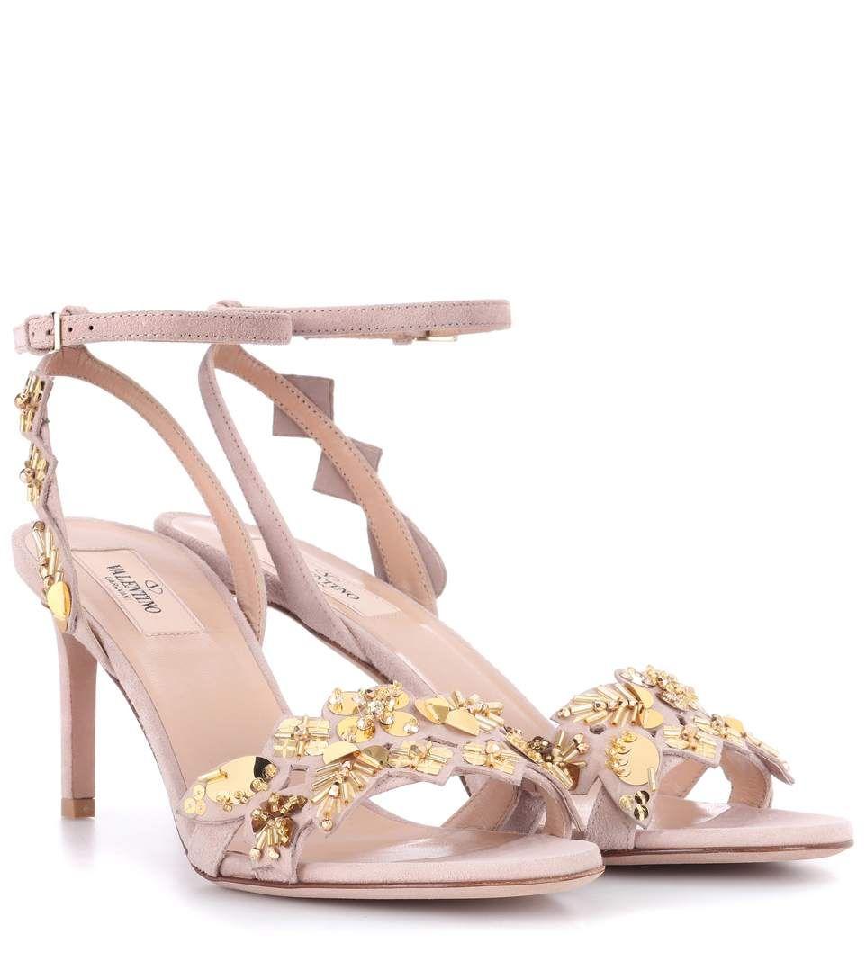 Valentino Garavani embellished suede sandals 022tB8e