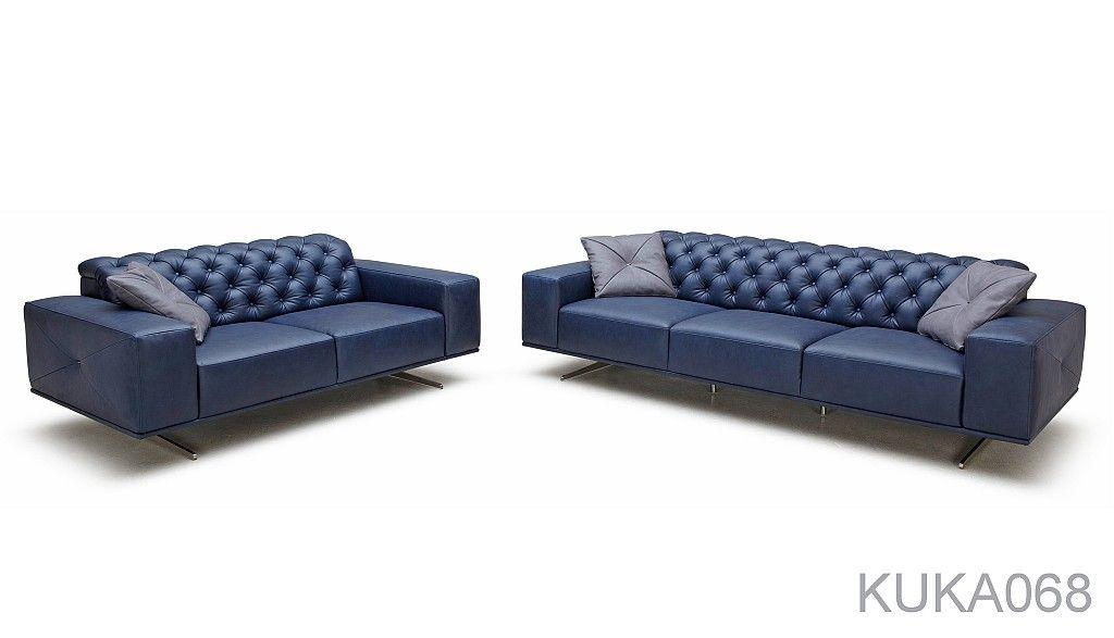 Vintage Italian Leather Sofa Canape Capitonne