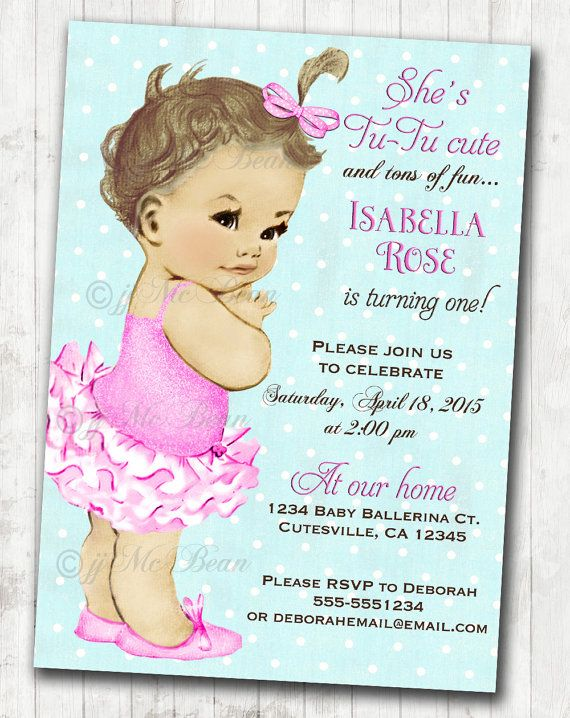 Invitation Cards For Ladies Party. Vintage Ballerina Birthday Invitation For Girl  Ballet Party First African American DIY Printable by jjMcBean