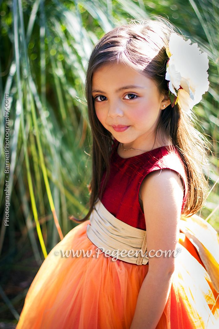 58298481fcc Flower Girl Dresses Garden Wedding of the Year 2014 in Claret Red and Spun  Gold Pegeen Couture Style 402. ~ Located 1 mile from Disney World
