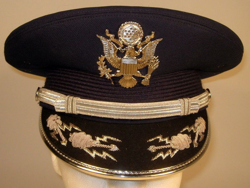 f1260680eaef1d US Air Force Male Band or Honor Guard Field Officer Dress Hat Cap 7 5/8 or  61