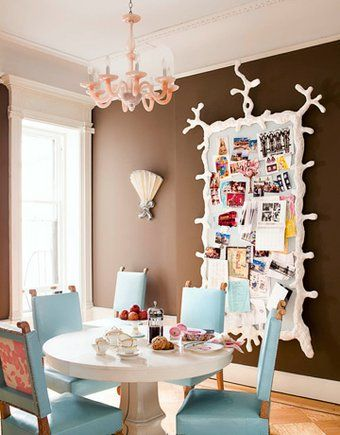 9 Quirky Brown Blue Pink Coral Dining Room Table Set Notice Board