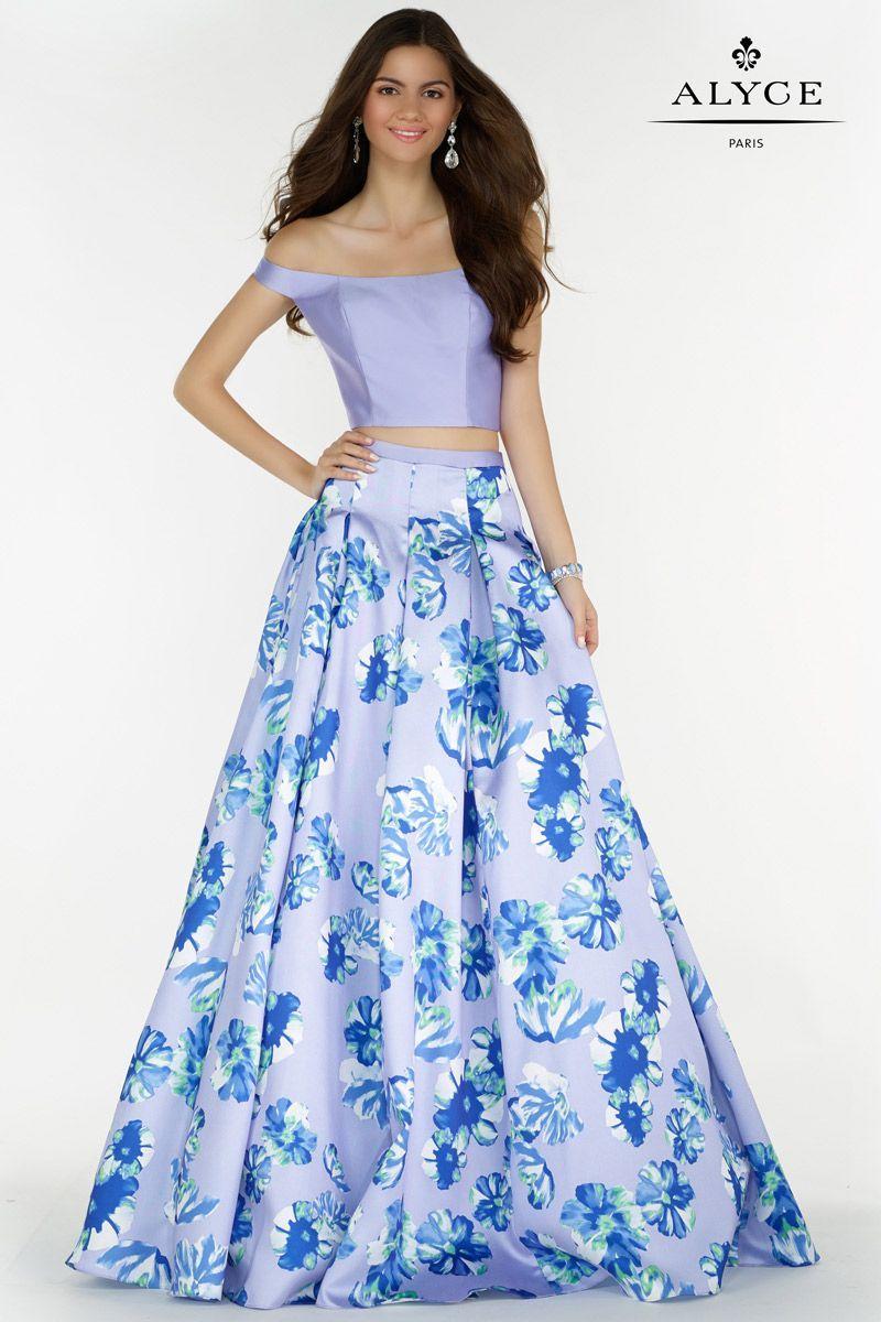 Alyce Paris 6808 Floral Mikado 2 Piece Gown With Off Shoulder Halter Floral Prom Dresses Piece Prom Dress Elegant Prom Dresses [ 1200 x 800 Pixel ]